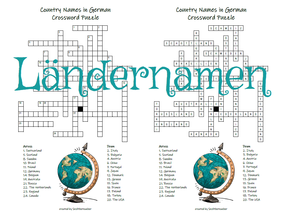 DAZ/DAF Country Names in German Crossword Puzzle (Ländernamen auf Deutsch)