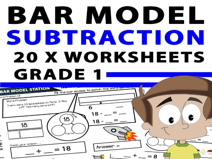 Bar Model Subtraction Worksheets: Years 1 & 2