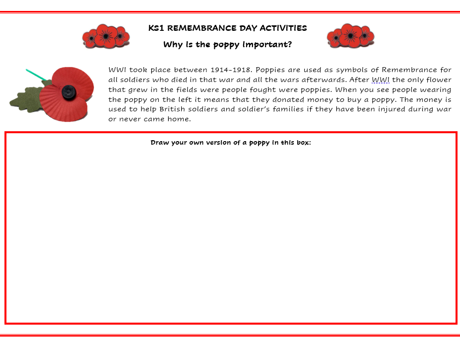 KS1 - Why do we wear Poppies on Remembrance Day?