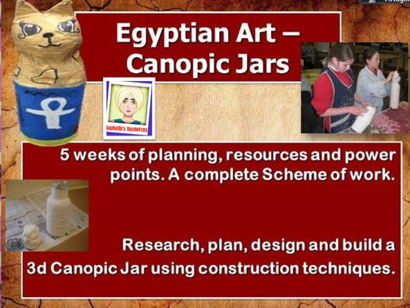 EGYPTIAN ART - CANOPIC JARS   COMPLETE UNIT OF WORK.