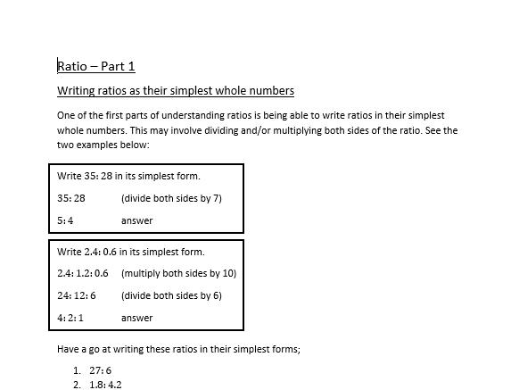 Ratio Revision Questions & Answers Bundle