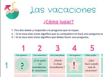 Tablero + Llavero Las Vacaciones (GCSE speaking practice)