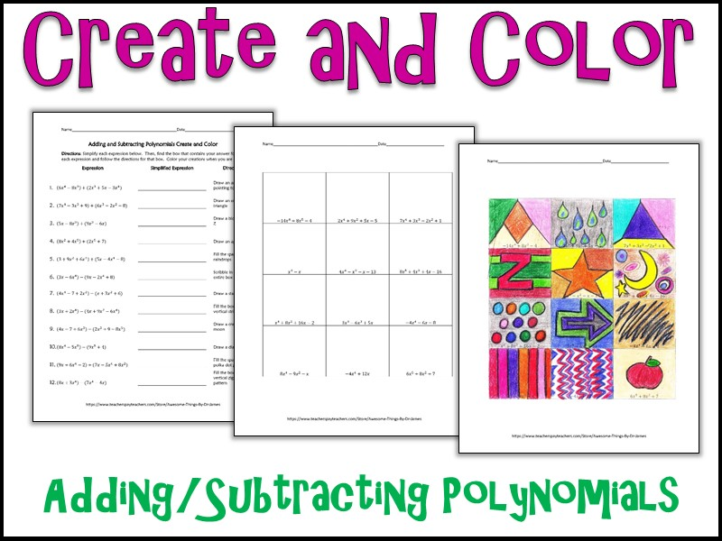 adding and subtracting polynomials create and color by charlotte james615 teaching resources tes. Black Bedroom Furniture Sets. Home Design Ideas