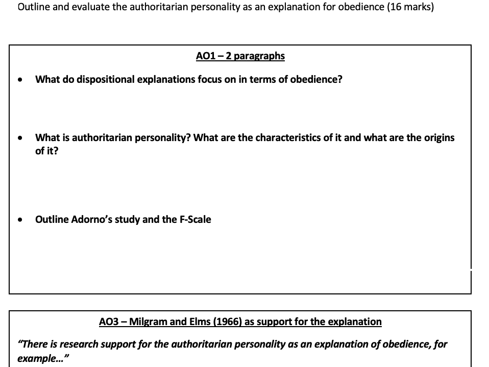 Authoritarian personality 16 mark essay writing frame
