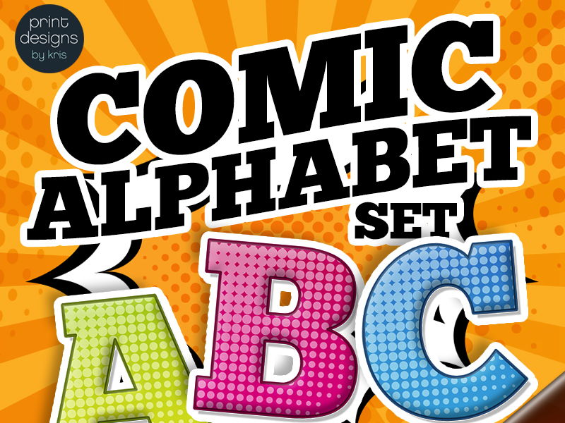 Comic Superhero Style Alphabet Clip Art Complete Set in 3 Colors