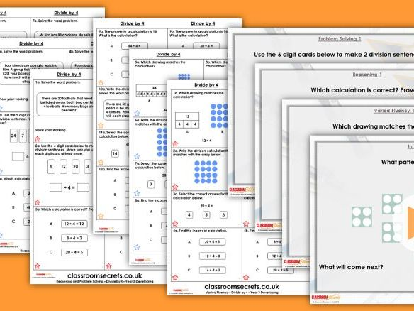 Year 3 Divide by 4 Autumn Block 3 Step 6 Lesson Pack