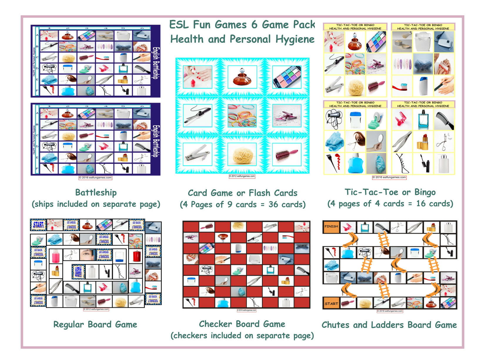Health and Personal Hygiene Tic-Tac-Toe or Bingo by eslfungames ...
