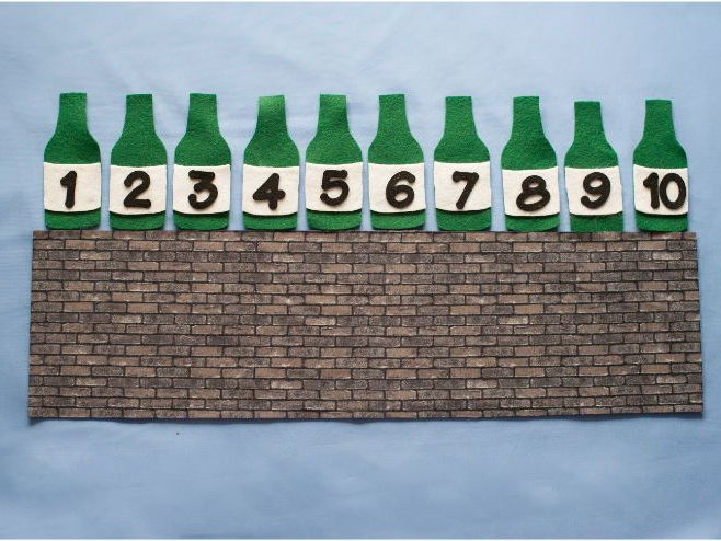 Ten Green Bottles Hanging on the Wall Felt Board Set Digital Pattern