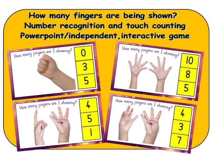 Number recognition using fingers to count 1-10 - powerpoint/independent interactive game