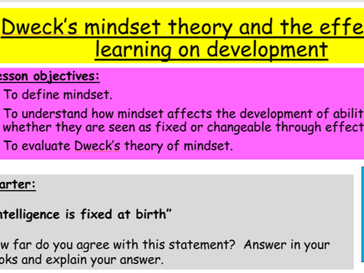 GCSE Edexcel Psychology (9-1): Topic 1: Development, Lesson 5: Dweck's mindset