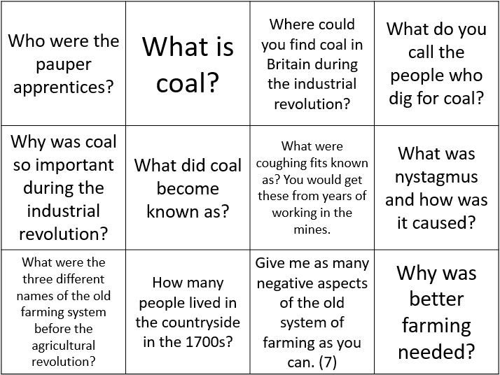 Industrial revolution question cards
