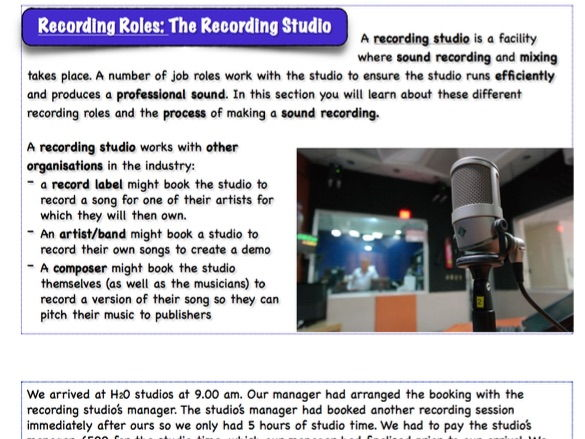 """BTEC Music Unit 1 - 'The Music Industry': """"Recording Roles"""""""