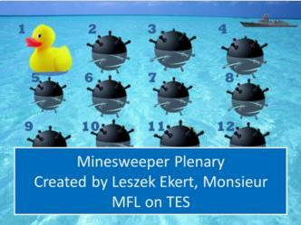Minesweeper Plenary end of lesson game