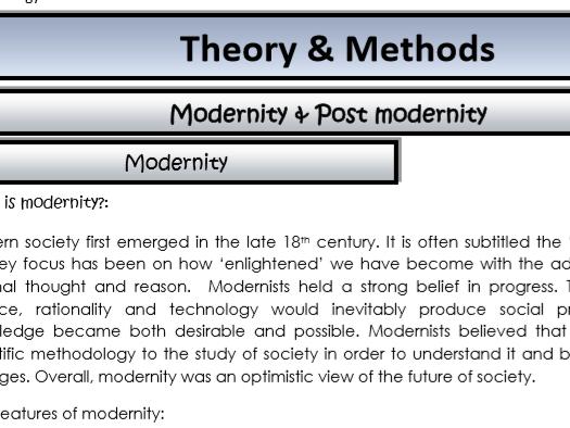 AQA Sociology - Year 2 - Theory & Methods - Modernity and post modernity