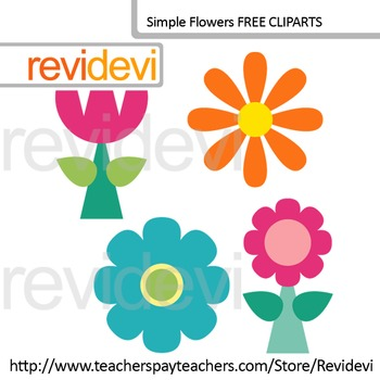 Simple Flowers Cliparts Set Of 4 Free Clip Art By Revidevi