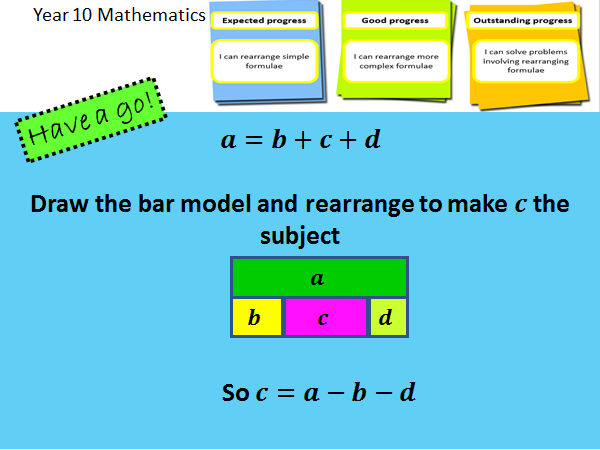 Rearranging formulae / changing the subject - Complete bar modelling lesson and mastery worksheet