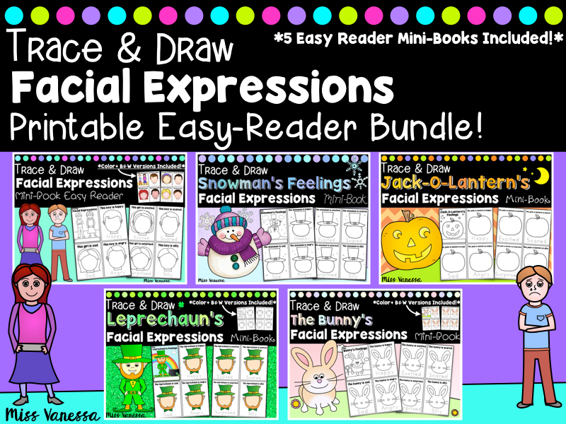 Feelings Mini-Book Bundle Draw The Facial Expression & Trace The Feelings Words, Happy, Sad, Angry, Scared, Excited, etc.