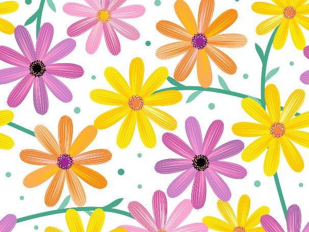 Seamless Gerbera Daisy Flowers Pattern