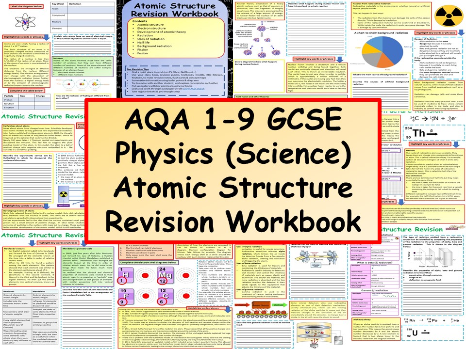 AQA 1-9 GCSE Physics (Science) Atomic Structure Revision Workbook
