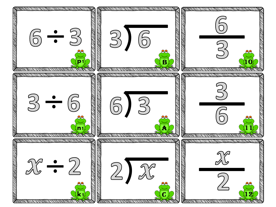 Division as a Fraction-Different Division Representations-Student Notes and Matching Activity