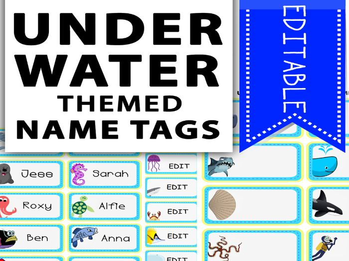 Under The Sea Themed Name Tags