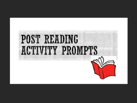 Post Reading Activity Prompts - Distance Learning / Home schooling