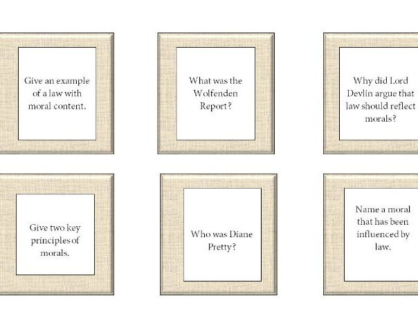 Law and Morals Revision Cards