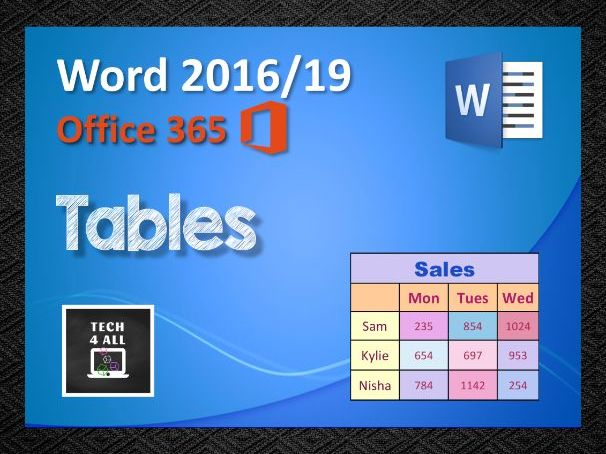 Tables in Microsoft Word
