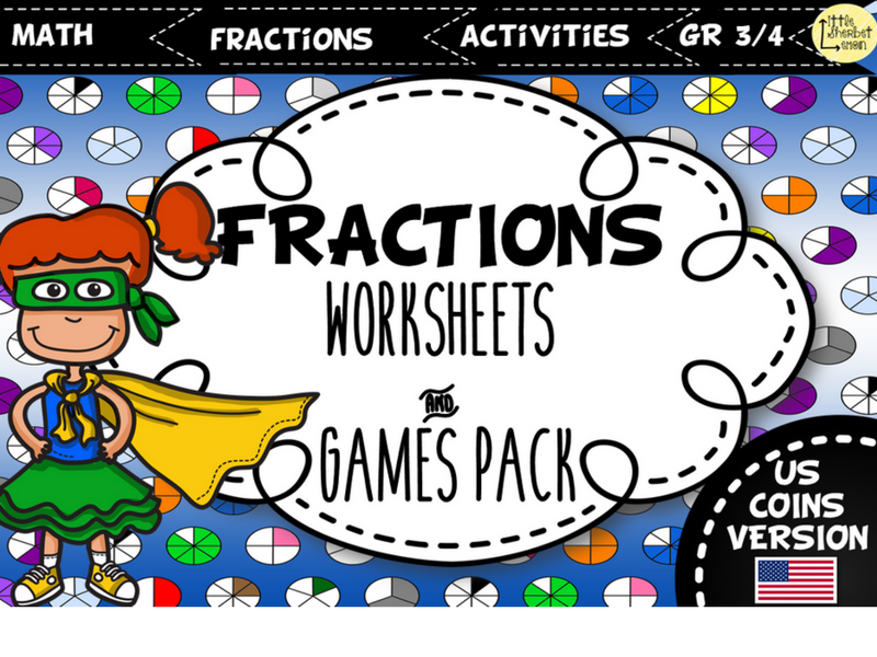 Fractions Worksheets and Games Pack - US VERSION
