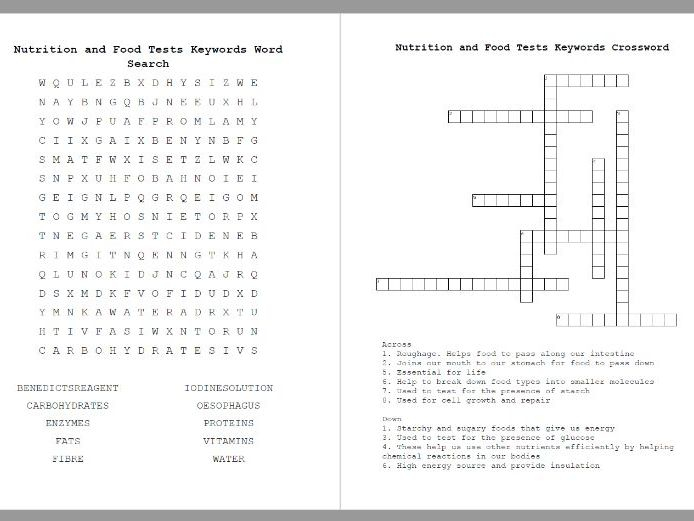 Nutrition and Food Tests Crossword & Word Search KEYWORDS