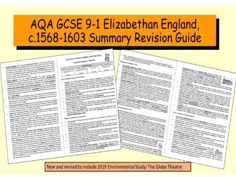 AQA GCSE 9-1 History Elizabethan England 1568-1603  Summary Revision Guide