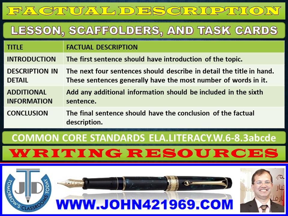 FACTUAL DESCRIPTION LESSON AND RESOURCES