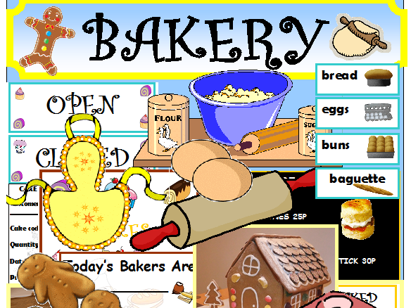 BAKERY ROLEPLAY CLASSROOM DISPLAY LITERACY MATHS EYFS KS1