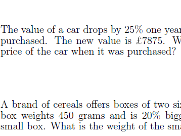 Reverse percentage worksheet (with answers)