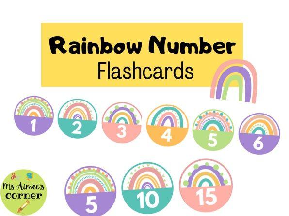 Number Rainbow Flashcards