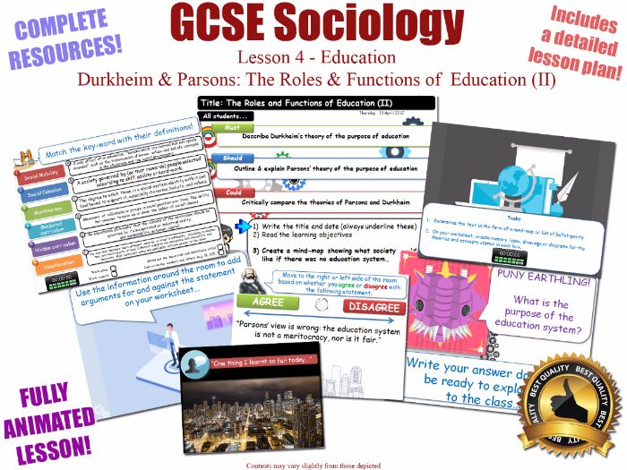 Durkheim & Parsons - Roles & Functions of Education L4/20 [ WJEC EDUQAS GCSE Sociology ]