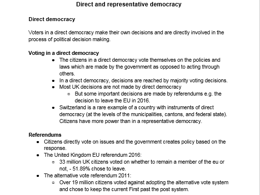 A level Politics : Types of democracy overview