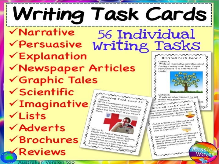 Individual Writing Task Cards for Literacy Centres Activities
