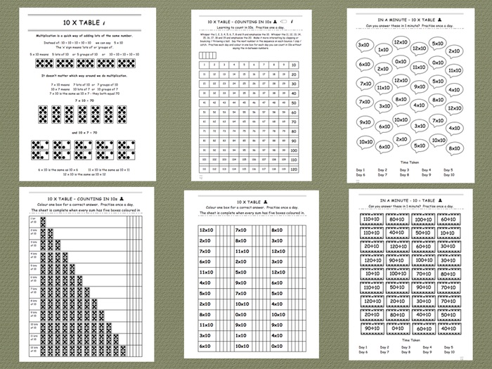 Ten Times Table - Comprehensive Workbook