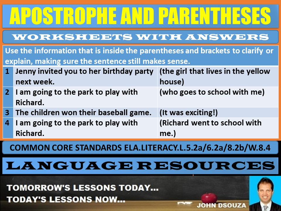 APOSTROPHE AND PARENTHESES WORKSHEETS WITH ANSWERS