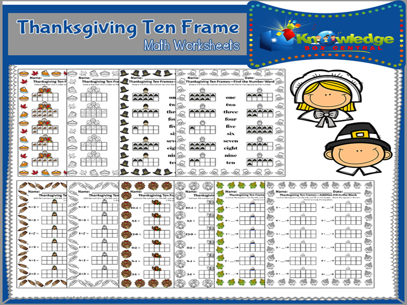 Thanksgiving Ten Frame Math Worksheets