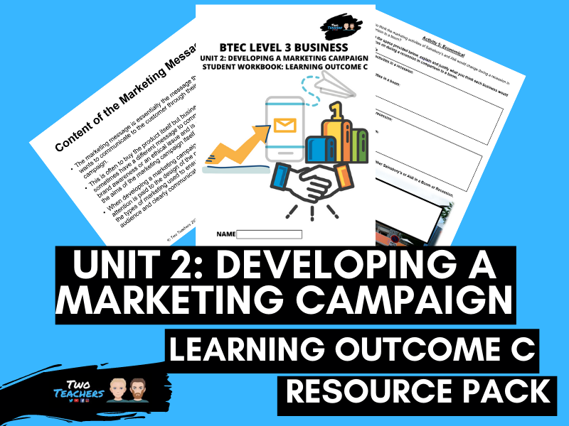 BTEC Business Unit 2: Developing a Marketing Campaign Learning Aim C | PowerPoint & Student Workbook