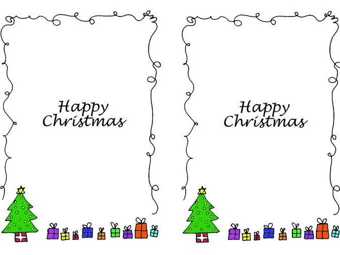 Christmas card inserts - Christmas tree design - A5 2 up on a page - portrait design