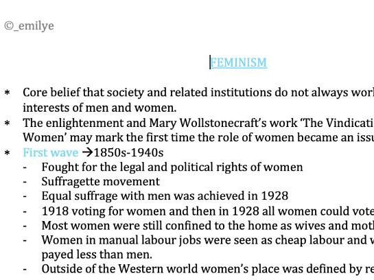 Feminism - Edexcel Politics A-Level 9PL0