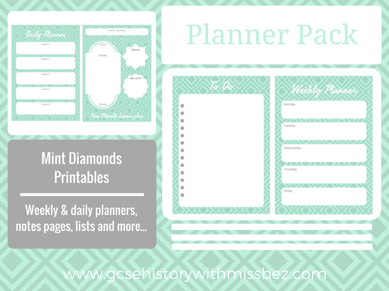 Teacher Planner Pack - Daily and Weekly Printables to Support Your Planning (Mint Diamonds Theme)