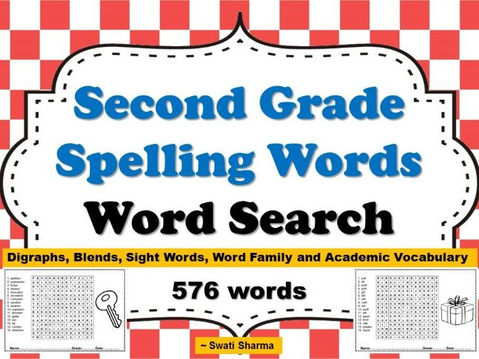 Second Grade Spelling Words, Word Search Worksheets