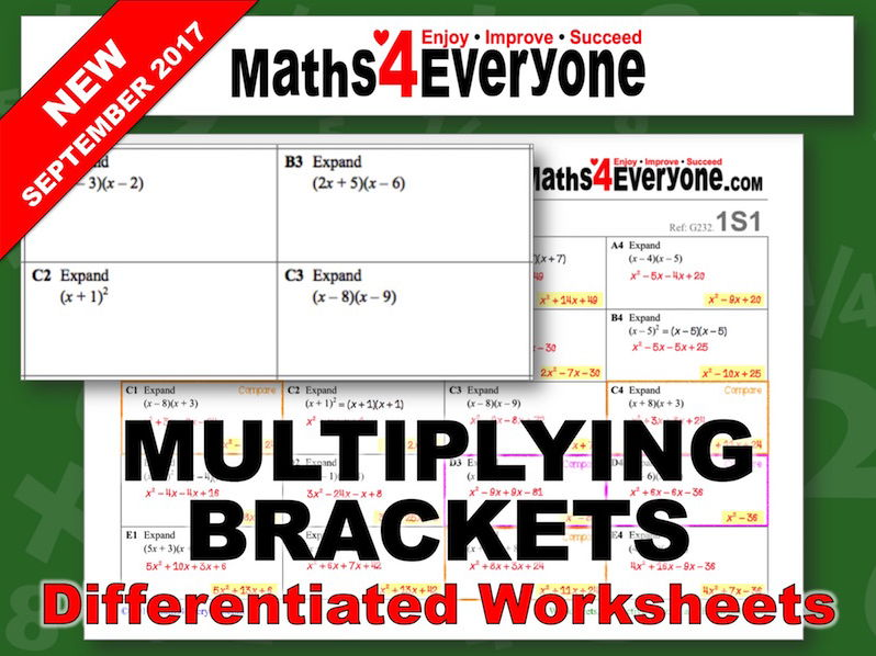 Multiplying Brackets (Differentiated Worksheets)