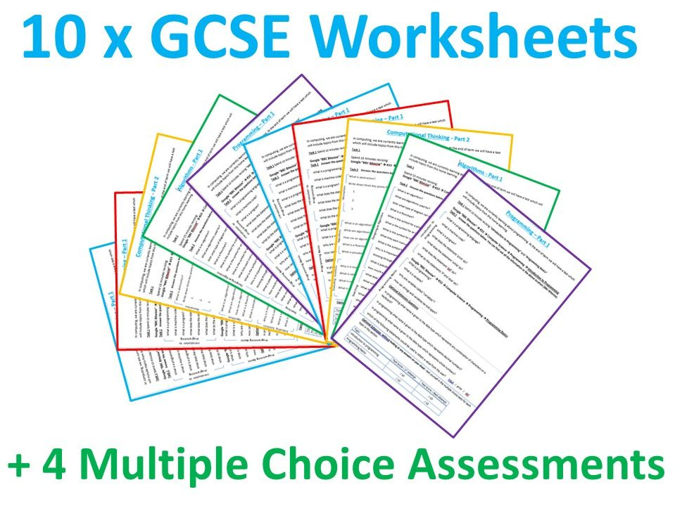 10 x GCSE Computer Science Revision Worksheets / Homework