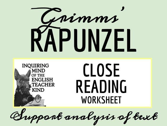 "Grimms' Fairy Tale ""Rapunzel"" Close Reading Worksheet"