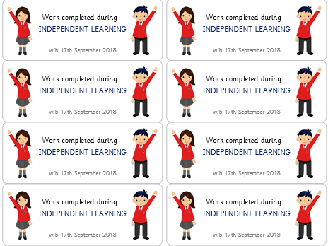 Work Completed During INDEPENDENT LEARNING Stickers- EDITABLE- 14 per page